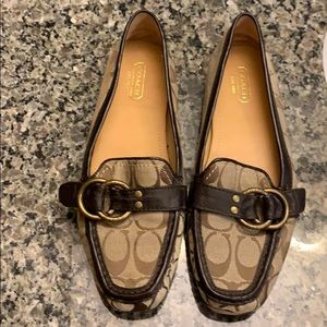 Coach Signature fabric patterned loafers w/leather